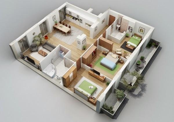 Denah Rumah Type 45 Satu Lantai Tiga Kamar
